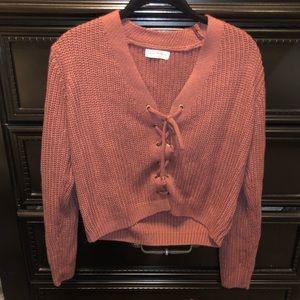 FASHION NOVA Lace Up Sweater 🌸